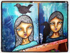 Meet Blackbird and Raven.  #mixedmedia #canvasboard #whimsical #portrait #londonartist #artistsoninstagram #irisimpressionsart #beabitmoreyou