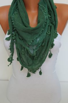 Women  Green Cotton Shawl Scarf  Headband  Cowl by DIDUCI on Etsy, $19.00