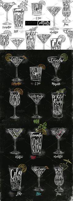 Poster Cocktails. Best food illustrations for businesses like food menu, blogging, graphic design, poster. More #food #illustrations for your #brand you can download here ➝ https://creativemarket.com/graphics/illustrations?u=BarcelonaDesignShop