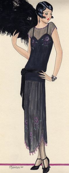 This is a 1920s sheer overdress with beaded embroidery.  #fashion #sketch #illustration #drawing #woman