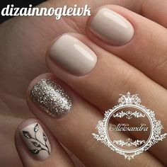 Having short nails is extremely practical. The problem is so many nail art and manicure designs that you'll find online Gold Nails, Glitter Nails, Gold Glitter, Ongles Beiges, Hair And Nails, My Nails, Super Nails, Beautiful Nail Art, Manicure And Pedicure