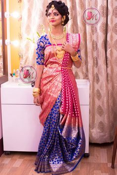 saree draping style s Half Saree Designs, Saree Blouse Neck Designs, Fancy Blouse Designs, Bridal Blouse Designs, Saree Wearing Styles, Saree Styles, Indian Bridal Outfits, Indian Bridal Fashion, Sari Draping Styles