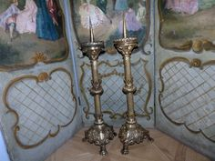 Antique French pair bronze church candle stick holders w angels HUGE altar candelabra candle holders, religious church decor candlesticks