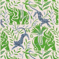 """Christopher Farr Cloth on Instagram: """"La Jungle Grass wallpaper featuring a trail of elephants and leopards interlaced with birds and jungle foliage - inspired by the archives…"""" Interior Styling, Interior Design, Leopards, Love Design, Powder Room, Elephants, Floors, Grass, Diy Home Decor"""