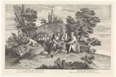 Lodewijk XIV (koning van Frankrijk) | Elegant gezelschap speelt het spel Pied de Boeuf, Lodewijk XIV (koning van Frankrijk), 1709 | Een gezelschap van twee mannen en twee vrouwen speelt het spel Pied de Boeuf. Het was oorspronkelijk een kinderspel waarbij de spelers hun handen op elkaar leggen. In de marge een zesregelig gedicht, in twee kolommen, in het Frans.