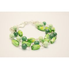 Summer Shinies! Super Light, Colourful Glass Bead 3 Strand Bracelet,... (€18) ❤ liked on Polyvore featuring jewelry, bracelets, polish jewelry, bead jewellery, jade bangle, green stone jewelry and green jade bangle
