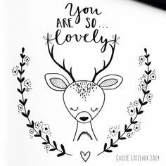 Lovely Deer. Day 33 of yearlong 30 minute a day sketchbook project. Cassie Loizeaux