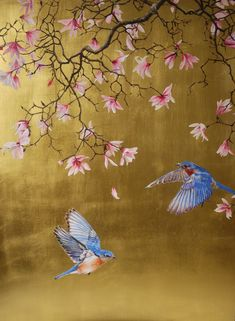 Magnolia with bluebirds - Ruth Winding Japanese Painting, Japanese Art, Chinese Painting Flowers, Fleurs Art Nouveau, Gold Leaf Art, Hand Painted Wallpaper, Chinoiserie Wallpaper, Art Japonais, Painted Leaves