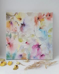 Original watercolor floral painting with abstract spring flowers. This watercolor picture are hand-painted by me on cotton canvas with watercolor paints. This picture will complement your home decor or become a wonderful gift for your friends birthday! Delicate watercolor flowers will