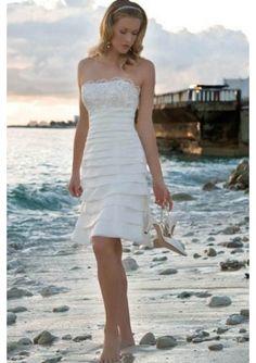 Spitze Saum Taft Trägerloser Knielange Hochzeitskleid Kurz