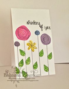 blending art and craft: Funky flowers Watercolor Birthday Cards, Watercolor Cards, Watercolour, Cute Cards, Diy Cards, Fun Craft, Hand Drawn Cards, Art Drawings For Kids, Flower Doodles