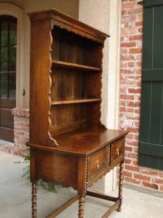 european hutch dresser   Antique English Tiger Oak Welsh Dresser Hutch Sideboard Buffet Plate ...