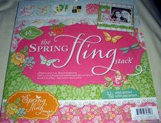 "Printed Cardstock Scrapbooking Paper 12"" x 12"" SPRING FLING STACK 48 Sheets"
