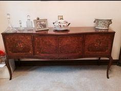 QUEEN ANNE STYLE BUR WALNUT SIDEBOARD  needs a bit of restoration  £75  contact: loukellick@aol.com  https://www.facebook.com/marketplace/permalink/390123374704959