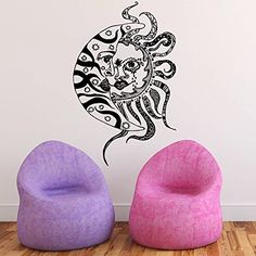 Wall Decal Vinyl Sticker Decals Art Home Decor Murals Sun Moon Crescent Dual Ethnic Stars Night Symbol Sunshine Tribal Flame Fire Bathroom Bedroom Dorm Decals AN19 $26.99