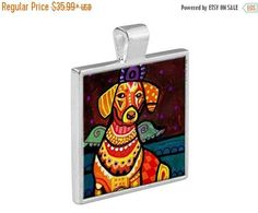 50% Off Today- Dachshund Angel Necklace Doxie Dog Folk Art Jewelry - Pendant Metal Gift Art Heather Galler Gift- Weiner Dog Lovers Abstrac