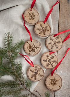 DIY ornaments from birtch wood. The original site has you burn the snowflakes in, but I bet you could use a brown sharpie and get a similar effect!