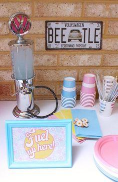 Drink Table from a 60's VW Love Bug Themed Birthday Party via Kara's Party Ideas KarasPartyIdeas.com (9)