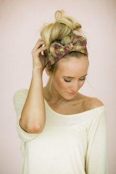 Plaid Bow Headband, Women's Fashion Hair Accessories Christmas Headband in taupe plaid on Etsy, $28.00