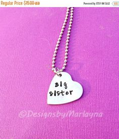 New Big Sister, Older Sibling, Sister Jewelry, Hand Stamped Necklaces, Second Time Mom, Mother's Day Gift, Sorority Sisters, Big Sis Lil Sis