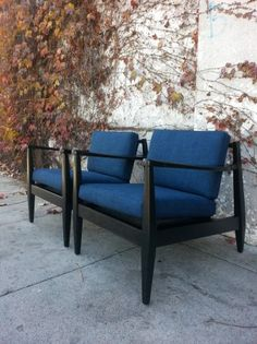 Los Angeles Mid Century Danish Pair Of Arm Chairs New Upholstery And Foam 400