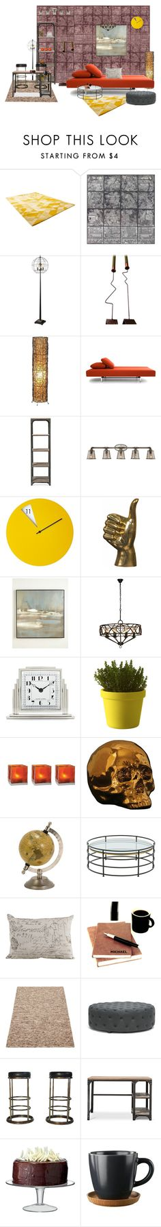 """My take on industrial interior"" by lindagama on Polyvore featuring interior, interiors, interior design, home, home decor, interior decorating, Cyan Design, Universal Lighting and Decor, Benson-Cobb Studios and Ralph Lauren Home"