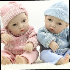 47.12$  Watch here - http://ali6v7.worldwells.pw/go.php?t=32717909359 - 11 Inch Lifelike Reborn Babies Dolls Painted Hair Newborn Boy And Girl Dolls Full Silicone Vinyl Body With Clothes Kids Playmate