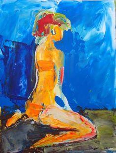 """Saatchi Art Artist Olesia Lishaieva; Painting, """"orange girl in a swimsuit"""" #art"""