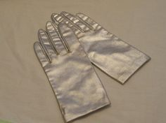 Vintage Gloves Small 6/61/2 Ladies Silver Lame Wrist Length Made in USA #Unbranded #Cocktail