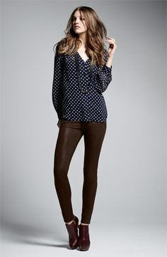 Bellatrix Blouse & Paige Jeans    Navy Blue and Brown is a great fall color combo.