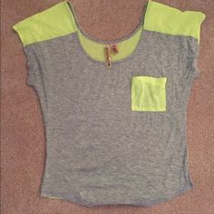 Gray/neon tshirt. Size M Gray shirt with neon pocket on front and neon back. Size medium Tops Tees - Short Sleeve