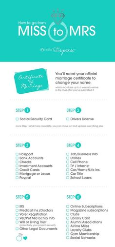 Checklist For Changing Your Name After Your Wedding! The absolute best tips and resources for changing your name after you get married!The absolute best tips and resources for changing your name after you get married! Wedding On A Budget, Wedding Tips, Wedding Details, Wedding Hacks, Wedding Stuff, Wedding 2017, Wedding Venues, Trendy Wedding, Elegant Wedding