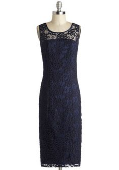 Go Out On a Vim Dress by Bettie Page - Long, Sheer, Woven, Blue, Solid, Embroidery, Sheath / Shift, Sleeveless, Better, Scoop, Wedding, Cocktail, Bridesmaid