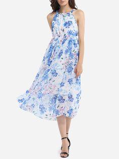 Spaghetti Strap Chiffon Floral Printed Maxi-dress