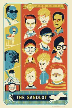 The Sandlot Artwork by Glen Brogan Cartoon As Anime, The Sandlot, Screen Print Poster, The Best Films, About Time Movie, Old Movies, Screen Printing, Illustration Art, Nerd