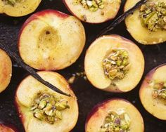 Vanilla Peaches with Pistachio Crumble from Food52