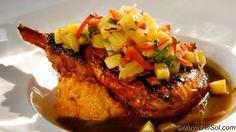Chuleta de Puerco - Adobo rubbed Pork Chop, butternut squash puree, sauteed spinach, caramelized onion-sherry broth, Aji-amarillo relish.    144 S Oak Park Ave, Oak Park, IL