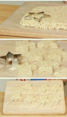 Rice crispy star lollipops