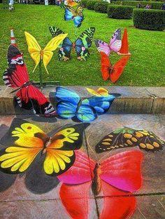 """Josh Maxwell """"Butterflies 3D chalk pavement Art"""""""