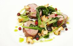 Christoffer Hruskova's pork neck recipe comes served with an impressive range of accompaniments, with wild garlic, rowan berries and a delicious pork sauce all featuring