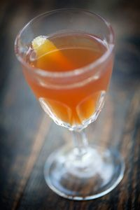 Attorney Privilege 2 oz. bourbon 1/2 oz. orgeat 2 dashes Angostura bitters Garnish: lemon twist