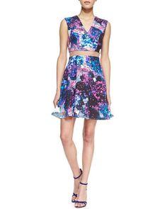 Carressa Sheer-Waist Floral A-Line Dress by Nha Khanh at Neiman Marcus #floral #dress