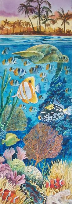 Image result for simple underwater watercolor scene