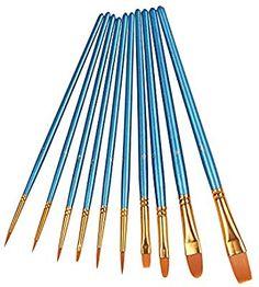 Art Supplies 10 Pieces Round Pointed Tip Nylon Hair Artis Xubox Pointed-round Paintbrush Set Artists Brushes