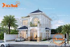 Thiết kế mẫu biệt thự tân cổ điển 2 tầng đẹp sang trọng BT1719 Home Building Design, Building A House, Mercedes W123, My House Plans, Mandalay, Small House Design, Classic House, Villa, Exterior
