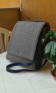 Crochet Man Purse, made with grey cord. DIY bag, made by me Crochet Man Purse, made with grey cord. DIY bag, made by me Crochet Men, Crochet Case, Free Crochet Bag, Crochet Clutch, Picture Birthday, Diy Bag Making, Mens Satchel, Man Purse, Crochet Backpack