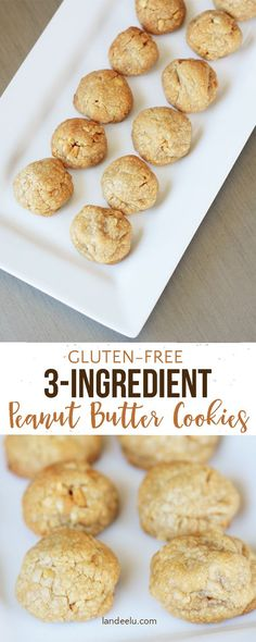 3 Ingredient Gluten Free Peanut Butter Cookies Recipe - Naturally gluten-free and only 3 ingredients! Yummy little peanut butter cookies!