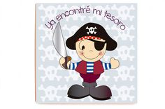 Cuadro Pirata impreso sobre madera de alta calidad sin marco y sin cristal. Medidas: 40 x 40 x 2,3 cm. Idiomas texto: castellano, catalán e inglés.