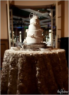 Photo by Kori Love this #cake & the #table linen is gorgeous!