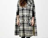Double Breasted Plaid Cape
